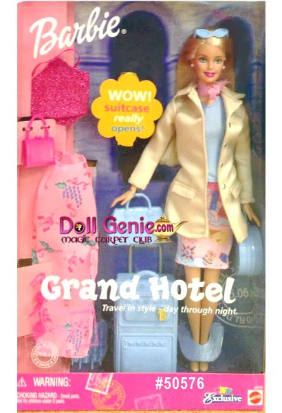 Travel in style - day through night.  Staying at the Grand Hotel pack right to make the most of what you bring along .Whether its for a weekend getaway or for a spectacular stay at a luxury hotel.  Barbie has some packing tips to share with you!  Neat!  Open up her big suitcase and pack some things!  Comes with suitcase that opens and an extra outfit