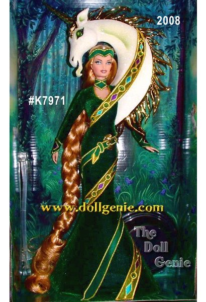 Inspired by medieval legend, Lady of the Unicorns Barbie doll by Bob Mackie wears a flowing gown of deep green velvet, embellished with a swirling ribbon. Her fantastical costume is accented by a wild unicorn with golden and green accents. Long Rapunzel-like braided hair sweeps to the floor, completing the dolls magical look. No more than 2,000 units produced worldwide.
