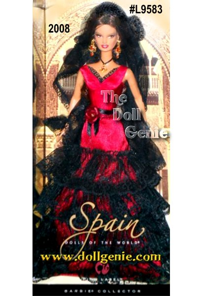 Spain is famous around the world for flamenco, an alluring art form, which combines dancing and handclapping with acoustic guitar, singing, and chanting. Barbie doll celebrates this rich cultural heritage in a stunning red and black dress accented with a black veil cascading down her back and a red rose at her waist. Large necklace and earrings add to the dolls ethnic appeal, as does exotic face paint. This doll is sold out by Mattel  very hard to locate.