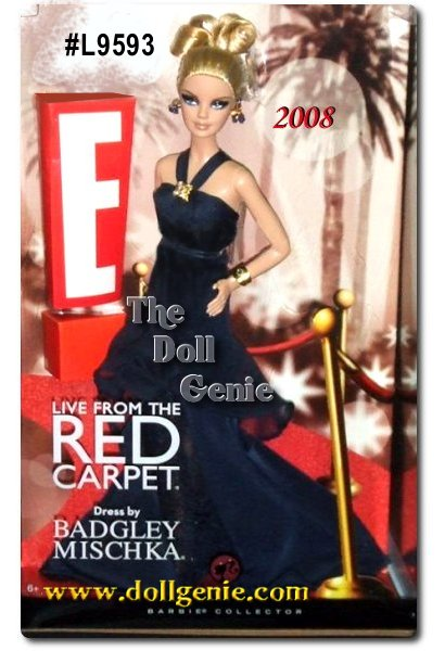 Designed by Badgley Mischka - On Hollywoods biggest nights, only E! captures all the glitz, glamour, and excitement with Live from The Red Carpet. Now, Barbie doll makes her debut on the Red Carpet with E! wearing a stunning custom gown created by acclaimed designers Mark Badgley and James Mischka. Cameras flash and fans cheer as Barbie makes her entrance in this dazzling Badgley Mischka gown in midnight blue inset with elegant lace and accented with a precious golden brooch, bracelet and ring. A member of Hollywood royalty, she will have everyone asking - Who are you wearing?