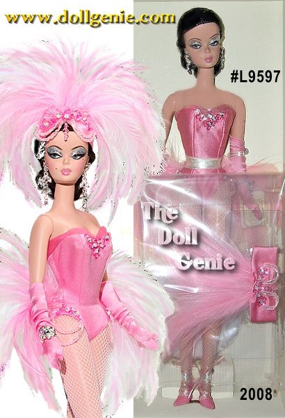 Designed by Robert Best - Nothing is quite so Parisian as a beautiful woman. The Showgirl Barbie doll is that and more an artiste, a star, a scintillating talent! This lovely lady lights up the stage, sparkling from head to toe in pink sequins and feathers. Enchante!