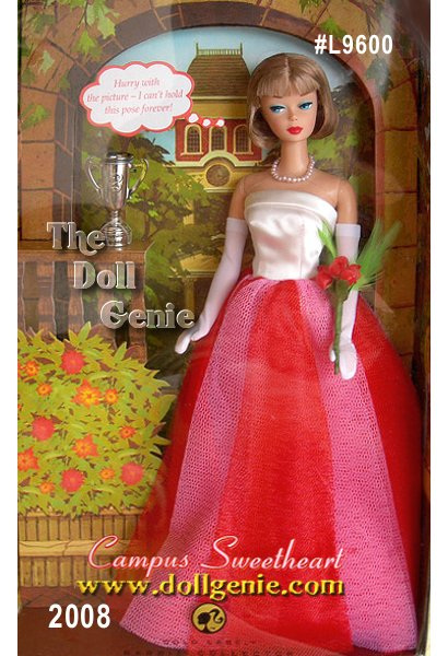 This vintage reproduction Campus Sweetheart Barbie doll wears a re-creation of a favorite Barbie fashion #1616 from 1965.? Wearing the nostalgic cream satin gown with pink netting, full skirt, and opera-length gloves, Barbie doll captures the innocent excitement of being Ken dolls school sweetheart. Accessories include a bouquet of roses and a silvery keepsake trophy.