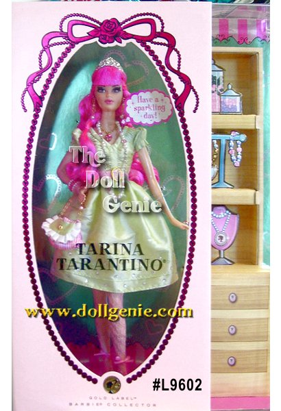 Capturing the charm and whimsy of designer Tarina Tarantinos signature Barbie jewelry line comes the first doll designed by Tarina Tarantino. Barbie doll looks absolutely adorable in a delightful light green dress, patterned stockings, pink strappy heels, and ringlets of pink hair (not to mention the tiara that sits atop long fuchsia locks). And because its Tarina Tarantino, this doll?s all about the accessories! From bling drop earrings to sparkly necklaces, pink ring, bracelets, and Barbie accented belt, this girls got style! Rooted eyelashes and pink puckered lips add to the dolls charm.