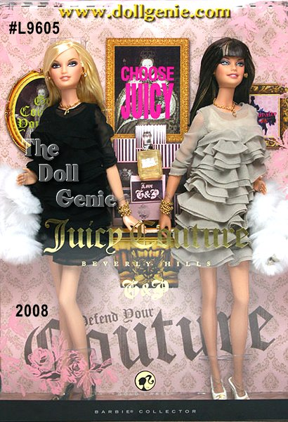 For the girl with the ultimate style, taste and sophistication comes the Juicy Couture Beverly Hills G&P Barbie dolls that all her friends will envy. The dolls are tiny replicas of Pamela Skaist-Levy and Gela Nash-Taylor, the designers and co-founders of the sensational Juicy Couture fashion empire. Showcasing the hottest fashions, both dolls wear matching re-creations of the layered silk chiffon dress thats part of Juicy Coutures Couture Couture line. Glamorous accessories include earrings, rings, necklaces, fab fur coats, and of course their signature bracelets, some of THE most coveted accessories in Hollywood.