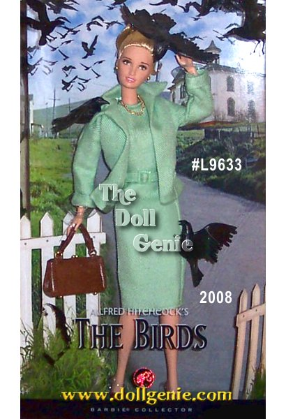 In 1963, Alfred Hitchcock, the Master of Suspense, gave us a tale of terror not soon forgotten in his film The Birds. Dressed in a re-creation of the stylish green skirt suit worn by the film?s ill-fated heroine in an iconic scene, Alfred Hitchcocks The Birds Barbie Doll celebrates the 45th anniversary of the acclaimed film. From the dolls classic ensemble to the perfectly painted expression to the accompanying black birds, every aspect captures the films infamous appeal.