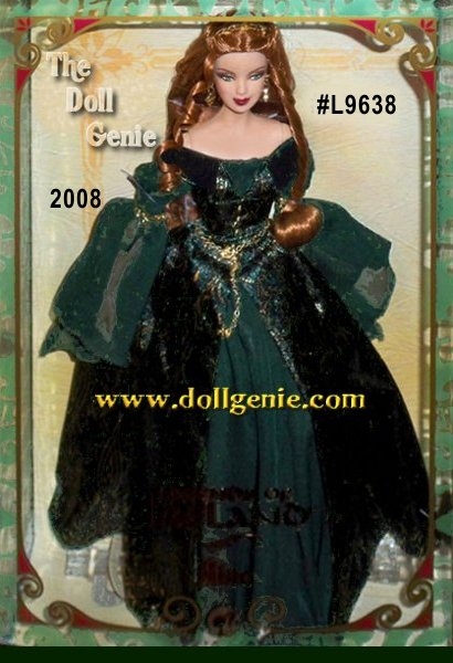 Known as the Faery Queen of Munster, Aine is the goddess of love. Aine Barbie doll captures the essence of the fabled goddess, wearing a flowing green gown with golden detailing. Reddish blond hair cascades around the dolls exquisitely painted face. Her romantically ethereal look is accented by a golden crown and earrings.