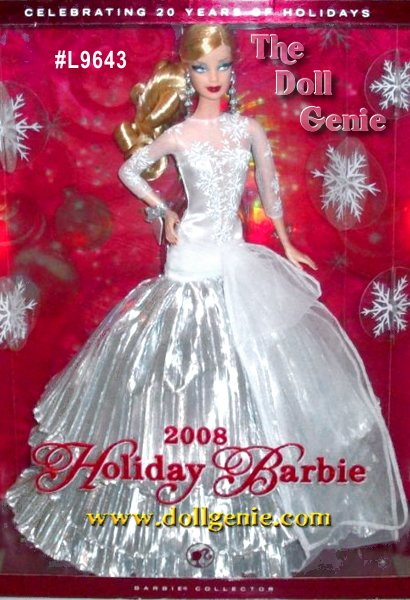 Designed by Sharon Zuckerman, The 20th Anniversary Holiday Barbie! The first Happy Holiday debuted in 1988. Although it was classified in the Play Line category collectors quickly embraced them, making them one hot collectible doll. Officially, the Happy Holiday collection was produced from 1988 to 1998, but Mattel has continued to issue a special Holiday doll every year since then. To celebrate 20 years of Holiday Barbie, Sharon Zuckerman has designed a gorgeous doll dressed in silver white satin and tulle, with tiers of crinkled silver lame. And, for the first time, the 2008 Holiday Barbie will have rooted lashes! This is the Caucasian Version.