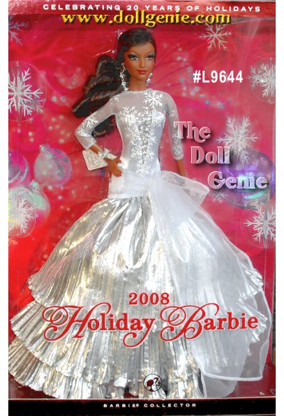 Designed by Sharon Zuckerman, The 20th Anniversary Holiday Barbie! The first Happy Holiday debuted in 1988. Although it was classified in the Play Line category collectors quickly embraced them, making them one hot collectible doll. Officially, the Happy Holiday collection was produced from 1988 to 1998, but Mattel has continued to issue a special Holiday doll every year since then. To celebrate 20 years of Holiday Barbie, Sharon Zuckerman has designed a gorgeous doll dressed in silver white satin and tulle, with tiers of crinkled silver lame. And, for the first time, the 2008 Holiday Barbie will have rooted lashes! This is the African American Version.