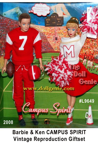 This vintage reproduction Barbie doll wears a re-creation of 1964s Cheerleader Barbie Fashion #876, while Ken doll is devastatingly handsome dressed in Touchdown Ken Fashion #799, originally released in 1963. Two favorite fashions finally available to you again and housed in packaging featuring vintage art!No more than 9400 units produced worldwide.