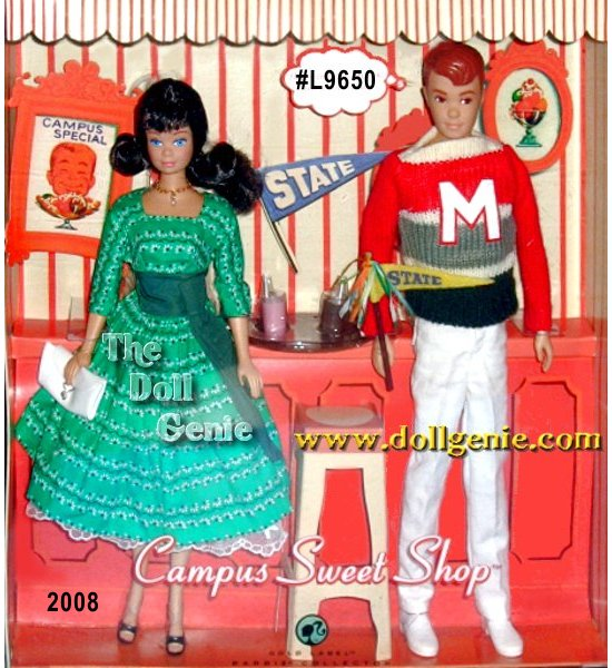 Mattel has put together a fabulous reproduction giftset based on the Barbie goes to College? vintage structure. It features a reproduction Brunette Midge wearing ?Swingin? Easy (#955 circa 1963) and Allan wearing ?Campus Hero? (#770 circa 1961). Many thanks to Mattels Bill Greening, who has brought such charm to the reproductions!?