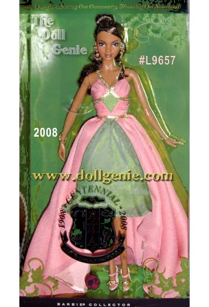 Mattel Inc. created the gorgeous limited-edition Alpha Kappa Alpha 2008 Centennial African American Barbie Doll, the first Barbie based on any sorority organization. Alpha Kappa Alpha made history in 1908 when it was founded as the first sorority for Black women. In the following century, AKA has led social action initiatives and advocacy programs that have touched countless lives. Their overriding qualities of Energy, Sincerity, and Passion continue to empower this great Sisterhood to greater service, justice, and social good. In commemoration of a 100 year legacy of sisterhood and service, AKA Centennial Barbie doll celebrates all the women of Alpha Kappa Alpha Sorority, Inc., wearing a gown of chiffon layered over charmeuse in the sororitys official colors of salmon pink and apple green. Sparkly accessories complete the look.