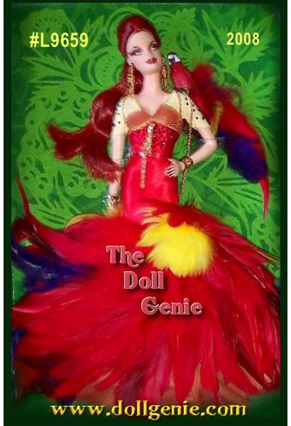 USA Exclusive - The Scarlet Macaw Barbie doll presents a perfect picture of the sophisticated woman, inspired by a most colorful parrot but completely committed to couture. Yellow, purple, and red feathers lavishly embellish the hem of the striking silk shantung gown. A scarlet macaw bird sits atop the dolls shoulder, tethered by a golden cord.
