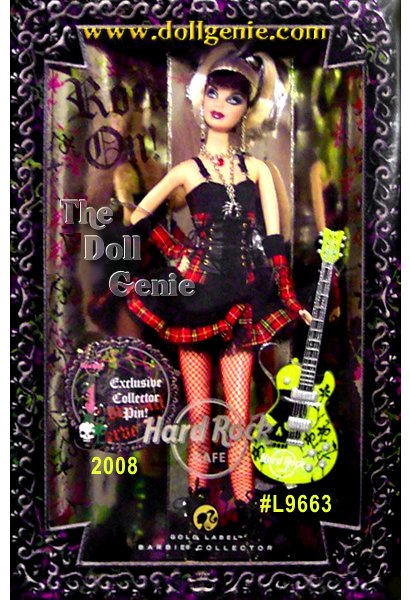 Hard Rock Cafe Barbie doll embodies a gothic punk vibe. The doll's black and red goth glam ensemble features a lace up corset top, short flared skirt, vibrant red fishnet stockings, edgy boots, and fingerless gloves. Modeling raw energy and independent spirit, Hard Rock Cafe Barbie doll comes with a jamming HRC guitar and collector pin.