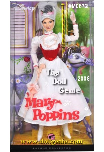 Julie Andrews Barbie - This doll celebrates the favorite classic film Mary Poppins dressed in a re-creation of an iconic ensemble from the carousel scene. With a face sculpt created in the likeness of Julie Andrews, a charming costume including dress, hat, umbrella, and delightful lace up boots, Mary Poppins looks simply supercalifragilisticexpialidocious!.