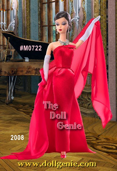 Designed by doll artist Marirose for the 2008 National Barbie DollCollectors Convention, Joie de Vivre Barbie doll wears a rather famous fashion inspired by Paramount Pictures 1957 musical comedy Funny Face. The ensemble consists of a red satin gown with tiny bows on the turn-down bodice and at the top of the train. The ultra-chic accessories include a chiffon scarf, opera-length white gloves, sheer hose, red sling back high heeled shoes and a magnificent set of faux emerald and rhinestone jewelry.