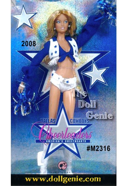 Barbie doll celebrates the darlings of professional football dressed in a fabulous re-creation of the internationally recognized Dallas Cowboys Cheerleaders uniform. The famed blouse, star-spangled vest and belt, and white shorts are meticulously reproduced. White cowboy boots and blue and silver pom poms complete the amazing ensemble. This doll is the Caucasian Version.