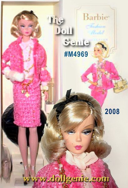 Barbie doll looks like the ultimate fashion model in a pretty pink suit jacket and matching short skirt. Contemporary black and white heels, a designer-style handbag, and platinum blond hair styled in a long bob complete the look.