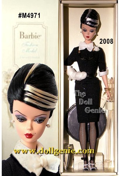 European Exclusive Designed by Robert Best - Parisian women have a certain unmistakable style. The Shopgirl Barbie doll epitomizes this style in every detail. From her elegantly upswept black hair with fabulous white streaks to her smart and chic black dress with white cuffs and collar, fishnet stockings, and black and white high heels, this doll embodies Parisian chic. Accessories includes stylish black-rimmed glasses that hang from a golden chain around her neck, a shiny black belt, golden bracelet, and pearl earrings. In one arm, the doll balances a gift bag with a tiny bottle of faux perfume. Tres chic!