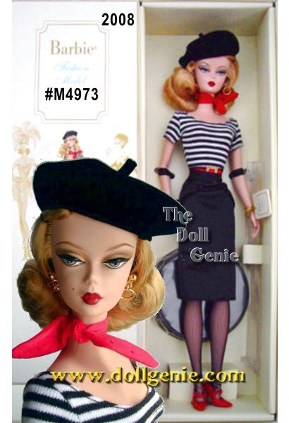 Ooh-la-la! The Artist Barbie doll is quite the artistic vision herself. From the black beret perched atop honey blond hair to the chic black and white striped top, straight black skirt, fishnet stockings, and fire engine red accessories including scarf, belt, and high heels, this doll could inspire a masterpiece. Accompanying art supplies include palate, brushes, and paint.(Only de-boxers will be in the know about the cute little buttons that line the back of the dolls skirt!)