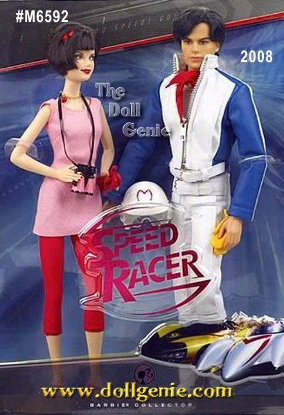 Go Speed Racer, go! Barbie and Ken make an absolutely adorable couple as Trixie and Speed Racer. Short bobbed brunette hair, a super cute pink and red outfit, and delightful accessories including pink binoculars and slinky heels complete Barbie dolls look. Ken doll looks super stylin? as Speed Racer, wearing a white racing jumpsuit, leather jacket, red racing scarf, and helmet. Only time will tell if he wins the big race!