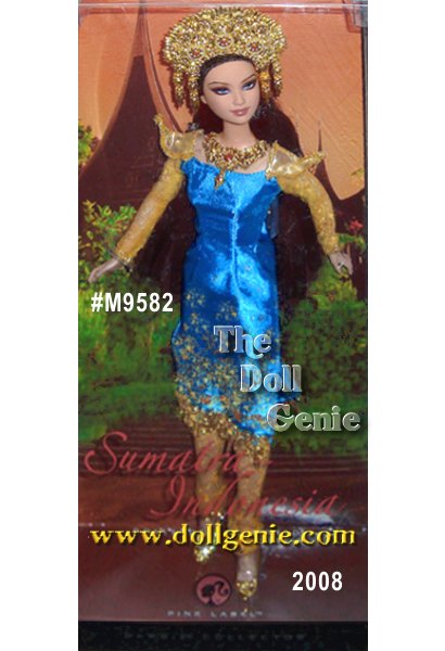 Greetings from the island of Sumatra where Barbie doll captures the beauty of her exotic Indonesian ancestry! Wearing an elaborate golden headdress and necklace, vibrant turquoise dress with golden detailing, and pointed golden shoes, this doll is a vision of loveliness. Long flowing brown hair and exquisite face paint captures the dolls ethnic heritage.