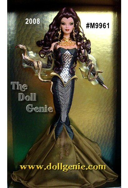Ancient myth and contemporary fashion combine to create a magical doll. Barbie doll as Medusa wears a green corset and chiffon fishtail skirt. Long, auburn curls play against the golden snake arm cuffs and necklace, which foretell the serpents that will become her hair. Less than 6,500 worldwide