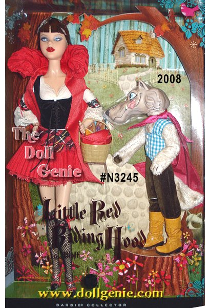 The classic story of Little Red Riding Hood gets a thoroughly modern twist! Barbie doll wears a super sassy costume complete with short pleated red skirt, stylish matching cape, fitted white bodysuit, black lace-up vest, black fishnet knee-high stockings, and red trimmed black heels. Accompanying basket includes bread and magazines. Yikes! A super scary wolf in stylish threads joins Barbie doll on the way to grandmas house.