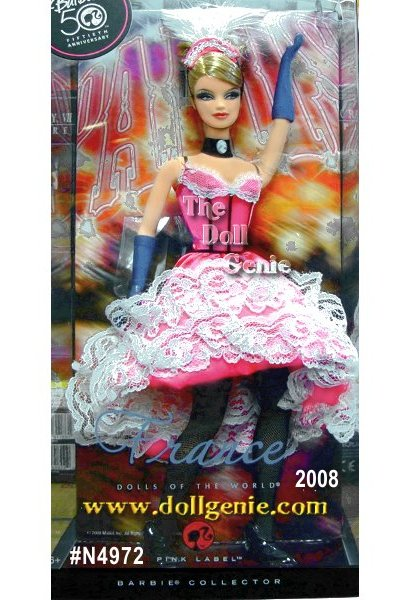 France Barbie doll celebrates the allure of French nightlife in a Can Can dancer?s ensemble. The doll?s pink dress features white lacy accents and black trim. Black fishnets, a stylish feathery cap, and blue gloves complete the blonde bombshell?s ensemble. Tr?s chic! Designed by Linda Kyaw.