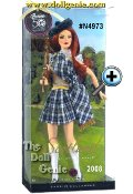 Scotland Barbie doll looks strikingly sweet in a darling plaid pleated skirt, matching sash, tan vest, and lacy white top. White knee-high socks, black Mary Janes, and a green beret complete the look. In true Scottish tradition, a set of bagpipes accompany the doll. Designed by Linda Kyaw.