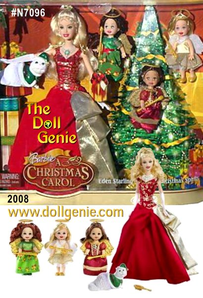 This special Barbie Christmas Carol  gift set also includes three of our adorable orphan characters from the movie. They are dressed here as the spirits of Christmas past, present and future. Each Kelly-scale character wears a beautiful, holiday fashion and sweet little angel wings. This complete set is packaged in a premium box with hangtag included.