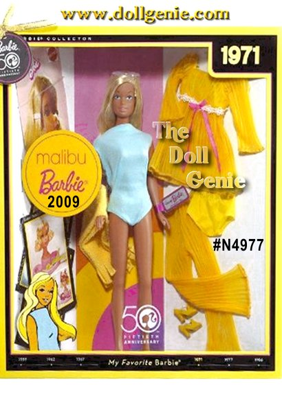 One highly sought-after Barbie doll is Malibu Barbie doll, which debuted in 1971. This doll solidified Barbie dolls image as the quintessential sun-loving, California girl. This 50th anniversary version models a reproduction of the famed aqua blue bathing suit, completed with yellow towel and sunglasses. Included in package is a reproduction of the mod Lemon Kick fashion #1465 from 1970, along with a reproduction vintage booklet. Finally, 50th anniversary collectible cards portray a vintage image reproduction on one side, and fascinating, little known Barbie fun facts on the back. Designed by Bill Greening