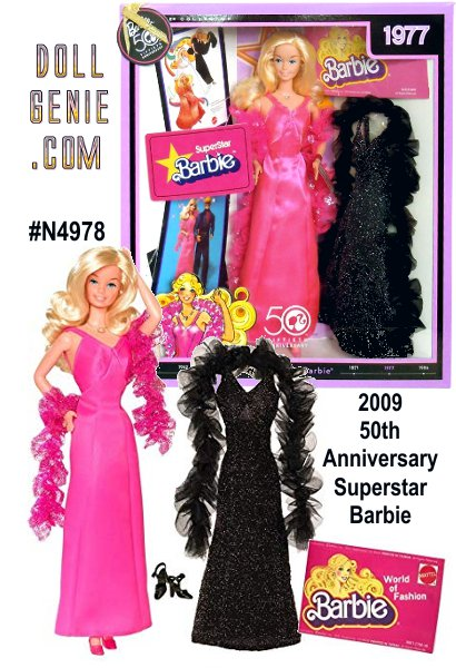 One highly sought-after Barbie doll is Superstar Barbie doll, which debuted in 1977. This doll featured a wide, open-mouthed smile and a softer, friendlier look. Long blond hair is parted to one side. This 50th anniversary version models a glamorous, hot pink satin evening gown, complete with boa. Included in package is a reproduction of a glamorous fashion from the era, along with a reproduction vintage booklet. Finally, 50th anniversary collectible cards portray a vintage image reproduction on one side, and fascinating, little known Barbie fun facts on the back.