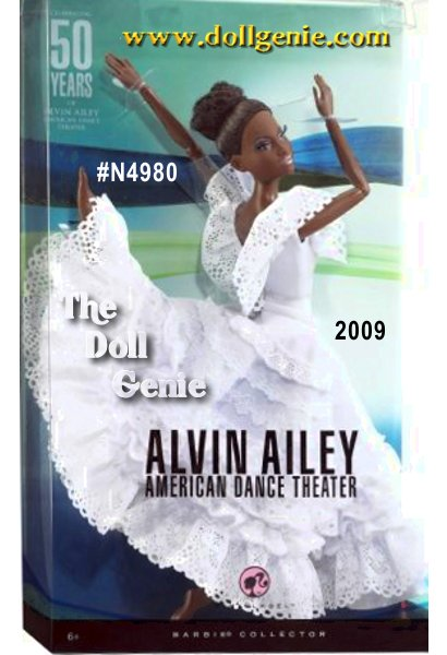 Celebrating their 50th Anniversary in 2009 will be the Alvin Ailey American Dance Theatre Serving as cultural ambassadors to the world they perform in more than 70 countries and are by far one of the most famous dance companies in the world. each doll wears a costume from Revelations, an Ailey masterpiece production, features rooted eyelashes and even the feet are sculpted to the exact pose of Ailey dancers. Barbie designed by Sharon Zuckerman