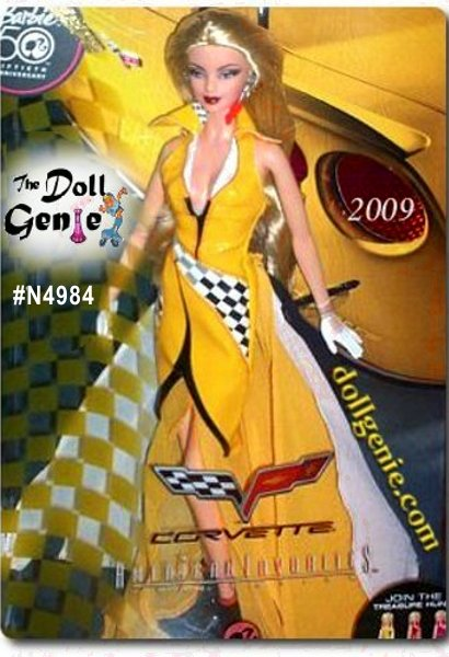 American Favorites Series - Yellow Corvette Barbie doll commemorates 55 years of Corvette excellence! This striking doll features classic Vette imagery and is part of the American Favorites Collection, celebrating beloved brands. Join the Corvette Barbie doll treasure hunt! Find your favorite, available dressed in radiant yellow, classic red, or hot Star Vette pink inspired by Barbie dolls fabulous sports car from the 1980s! But the real adventure is in completing your collection. The three dolls will appear randomly at your retailer red most often, pink most rarely, and yellow in between. You may have to make a number of pit stops to find them all! Good luck in your race to the treasure hunt finish line! Designed by Linda Kyaw