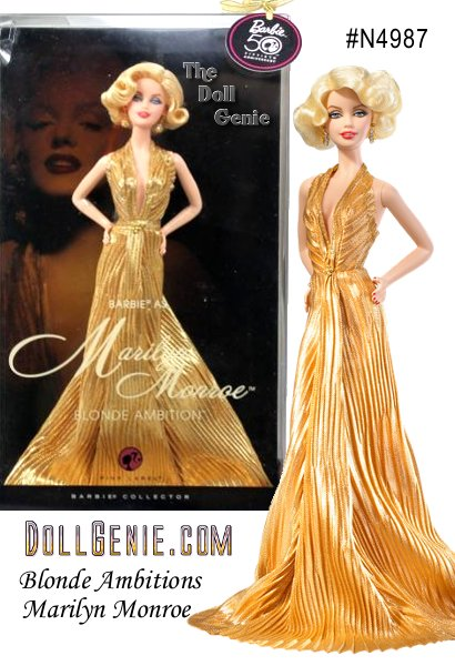 Barbie doll as Marilyn Monroe is the debut doll in the Blonde Ambition Collection, a series celebrating the blondes we all love and admire. The doll wears a flawless golden gown inspired by one created for her by American costume designer William Travilla. The results are sophisticated, stylish, and sexy - so very Marilyn Monroe!