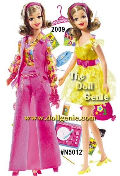 Meet Becky, a slightly familiar face from another time and place. Appropriately attired in a 70s-inspired bright yellow party dress, Becky doll wears terrific period makeup with robins egg blue eyeliner over her eyes and a soft shade of pink lipstick. Two additional fashions accompany the doll. The first includes a pink turtleneck, long flowing floral patterned skirt, matching headscarf, and beaded necklace. The second fashion features a lovely pink pantsuit with matching vest, floral top, and pink headband complete the package. Designed by Bill Greening.