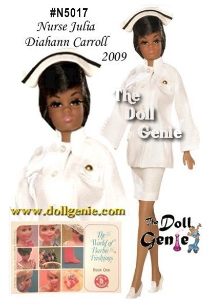 African American Julia debuted in September of 1968, changing television history forever. Played magnificently by Diahann Carroll, Julia challenged stereotypes and changed perceptions. Warm, spirited, and determined, Julia became a star, who is fondly remembered even today. This wonderful reproduction of the original Julia doll from 1969 celebrates all that made Julia and Diahann so beloved. The strikingly beautiful doll wears a re-creation of Julias white nurses uniform, and features rooted eyelashes, bendable legs, and a Twist N Turn waist. Designed by Bill Greening.