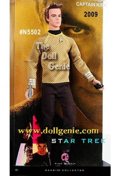 Star Trek has been spinning its mythology for 40 years, spanning 6 television series and 10 feature films. Star Trek XI comes full circle with a prequel featuring the fledgling future icons of the original Star Trek Series. From his piercing eyes to his sandy brown hair, and command gold uniform shirt, Ken doll as Captain Kirk embodies the commanding officer of the U.S.S. Enterprise perfectly. Beam me up, Scotty! Designed by Bill Greening.