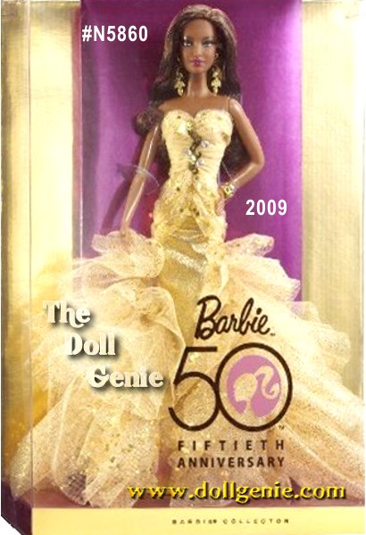 Now is your chance to join a once-in-a-lifetime celebration! Barbie dolls 50th anniversary sparkles even more brightly with a dazzling commemorative doll. The epitome of glamour, this radiant doll glitters beautifully. 50th Anniversary Barbie designed by Robert Best is a doll for you to love and cherish, now and forever! African American version.