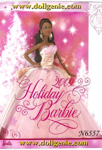 African American Version - A vision of holiday perfection! 2009 Holiday Barbie doll glitters as a reflection of an exhilarating year celebrating the 50th anniversary of Barbie doll. Collect her for yourself or the little girl in your life.