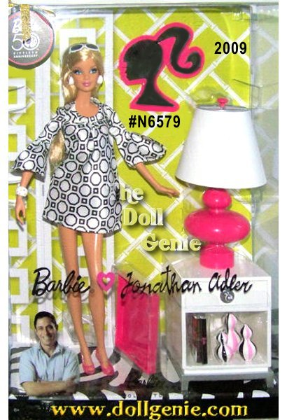 Jonathan Adlers fresh, modern ideas about interior design have established him as a true design visionary. Introducing Barbie Jonathan Adler Doll, a modern doll embodying the Adler lifestyle brand. Stylish, adorable, and oh-so-chic, Barbie doll comes with miniature accessories inspired by real pieces including a stylish side table, lamp, three funky patterned vases, a lacquered tray, and a Barbie silhouette mirror, all in pink, black, and or white.