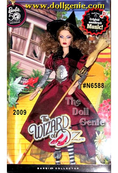 The most beloved family film of all time, The Wizard of Oz, stars in the Ultimate Barbie Celebration Year. Celebrate 70 years of this landmark film with Barbie Collectors first ever The Wizard of Oz Wicked Witch of the East Barbie doll! In the film, all audience members ever got to see of the Wicked Witch of the East were her Ruby Slippers and striped stockings. Inspired by those details, Barbie doll looks positively bewitching in a ruby red dress with an emblem on her chest that pays homage to the art deco architecture of the Emerald City. A black hat sits atop her mane of wavy locks. Black-and-white striped stockings and sparkly Ruby Slippers complete the look, of course! Barbie presents this special doll with original music from the movie. Designed by Linda Kyaw