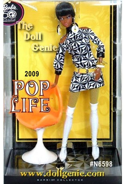 Pop Life Christie doll looks super chic in a mod inspired ensemble. Black and white geometric patterned mini-dress, white go-go boots, and yellow accessories complete the dolls look. Nostalgic Twist N Turn face sculpting and Pivotal body sculpt adds to the dolls allure. A mod chair accompanies the doll. All are Designed by Bill Greening.