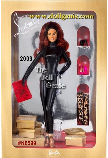 Celebrate the fantasy of this journey with the launch of the Christian Louboutin series of dolls. The first doll in this series of three comes straight from the calendars September scene Barbie vividly dreaming of being a jewel thief on the rooftops of Paris with her sophisticated partner in crime, Christian Louboutin. Barbie wears a sleek, black catsuit with hood, headband and ultra-chic Differa gold sandals by Christian Louboutin. The Doll comes with four pairs of Barbie shoes by Christian Louboutin each with the signature red sole, miniature shoe boxes and cloth bags. Shoes include the Differa gold sandals, Altameche Leopard boots, the Claudia ankle straps in Barbie 219 Pink and the Belle Ankle shoes in black. Only this first doll in the series comes with Barbie by Christian Louboutin calendar and Certificate of Authenticity. Limited quantities.
