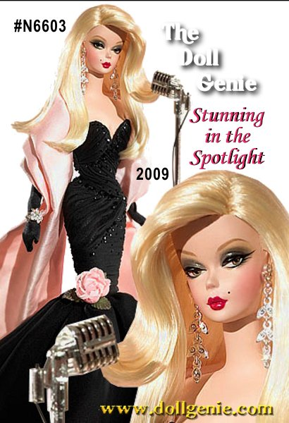 Whenever a fashion model takes the stage, all eyes turn toward her. Stunning in the Spotlight Barbie doll wears a dramatic, highly-detailed gown of black chiffon, embellished with jet black sequins and a pink fabric rose at the hem. A pale pink satin stole wraps her shoulders while rhinestone drop earrings, a rhinestone bracelet, and opera-length black gloves make a dramatic style statement. Designed by Robert Best