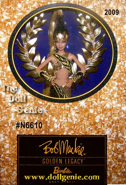 Talk about a winning combination! Bob Mackie lends his superior design sensibilities once again to Barbie. The results - A gorgeous and glamorous creation in golden sequins and lush black velvet. A true vision from head to toe, this doll is a true celebration of excellence. Less than 7,000 worldwide