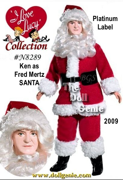 The Barbie Collector I Love Lucy series continues with its firstever solo Fred Mertz doll. Based on The Christmas Show, this delightful doll captures Fred playing the part of Santa Claus for Little Ricky. In the actual episode, there were five Santas all gathered in the kitchen on Christmas morning. One by one, they pull the white beards off each other to reveal Ethel, Lucy, Fred, Ricky. They pull the last beard, whose wearer replies Ouch! As the real Santa disappears before their eyes, the amazed quartet turns to the audience and says, Merry Christmas, everybody!