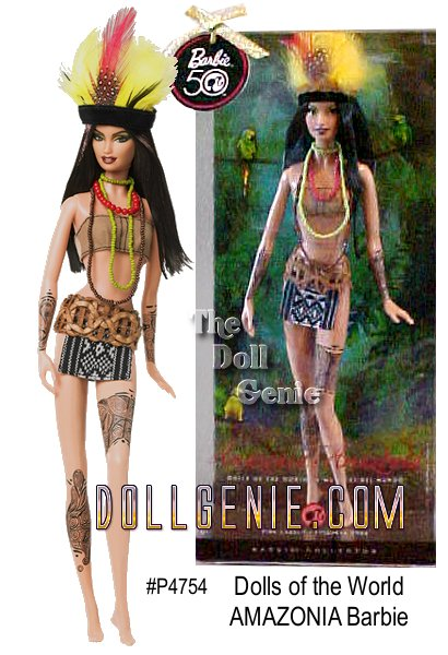 The Amazon is a natural source of beauty, bounty, and the mighty Amazon River. Barbie doll celebrates this extraordinary paradise, dressed in a costume inspired by the native people. From the feathers atop her long dark hair to her tribal tattoos, this striking doll will captivate your heart. Designed by Linda Kyaw.