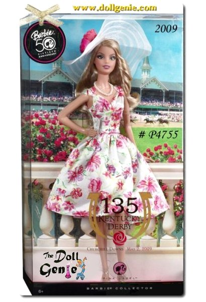 This stunning Kentucky Derby Barbie Doll features Americas sweetheart taking in a day at the races. Featuring a stunningly detailed outfit, this is one doll you wont want to race away. Hats off to Derby Day, with the parade of high-fashion and fabulous festivities! Barbie heralds the southern tradition in a party dress of blush and rose blossoms, and a wide-brimmed hat fit for a day at the races. Designed by Linda Kyaw