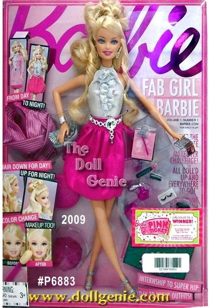 Fashion intern by day, fashionista by night, Fab Girl Barbie doll is the talk of the town! Designed by Barbie Collectors own It Girl Liz Grampp, Fab Girl Barbie doll wears a striped pencil skirt by day that reverses to a satiny pink bubble skirt for night. And for a truly glamorous day to night transformation, apply the accompanying color-change makeup with an applicator. Tech savvy and social, the doll comes with a texting device so that Barbie can stay connected. She also has a fashionable clutch, clipboard, coffee, and fashion portfolio with an exclusive code to unlock Fab Girl Barbie dolls world online.